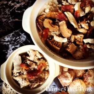 Chicken and mushroom rice clay pot